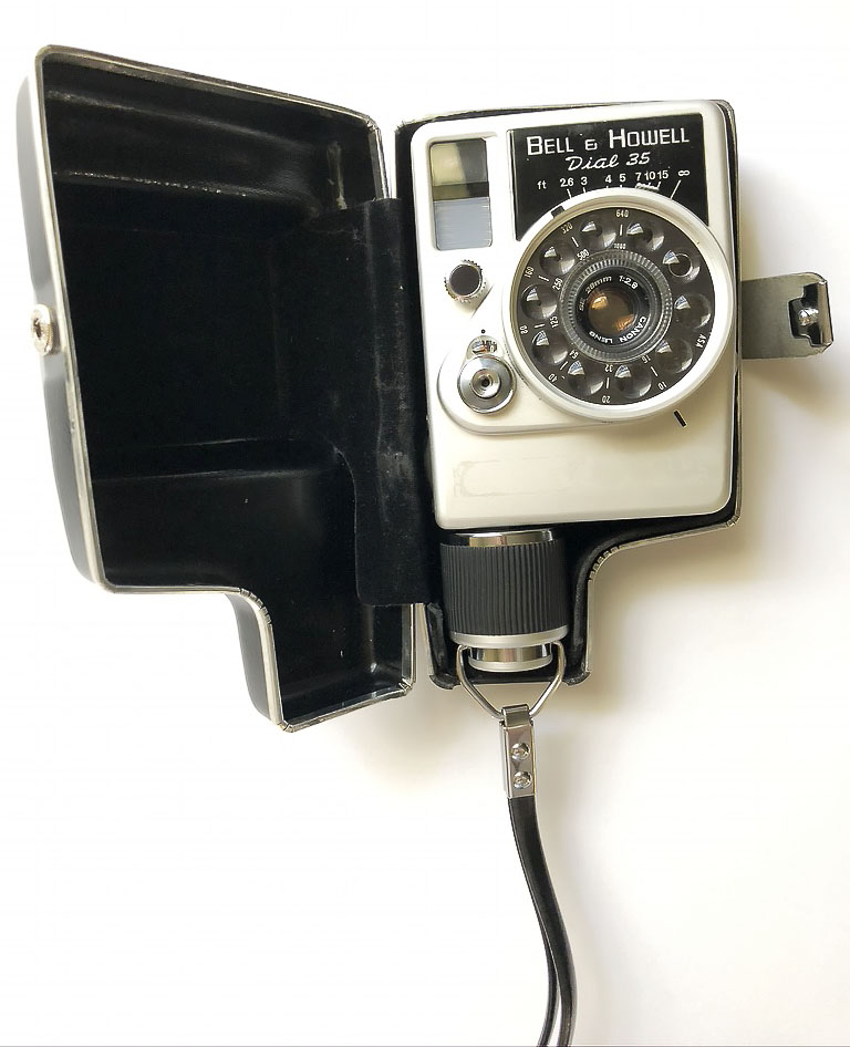 The Dial 35 camera inside its case