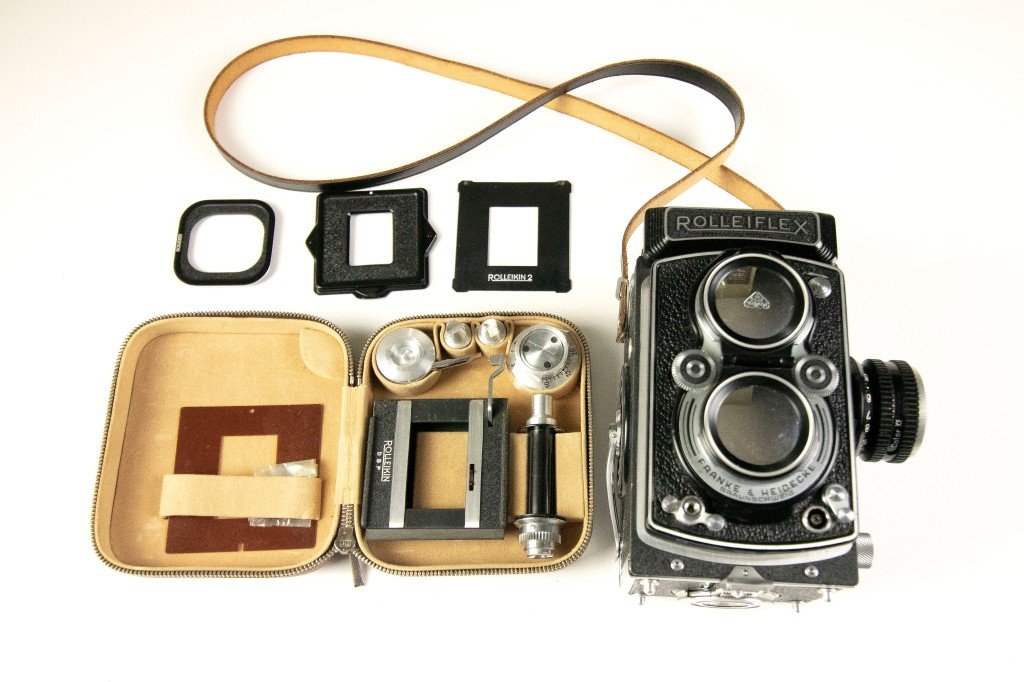 My Rolleiflex Automat with the Rolleikin 2 adapter set laid out